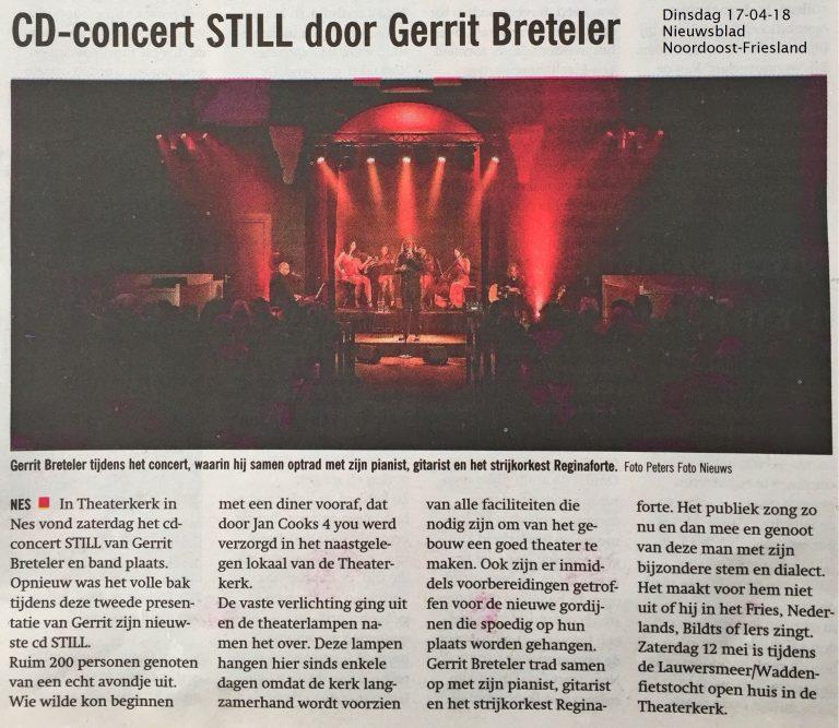 Nieuwsblad NOF schrijft over CD-concert Still